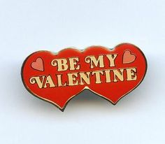 "Vtg 1979 SWIB ""Be My Valentine"" Acrylic Enamel Red Hearts GoldTone Tie Tack Pin"