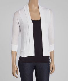 Another great find on #zulily! White Three-Quarter Sleeve Open Cardigan #zulilyfinds