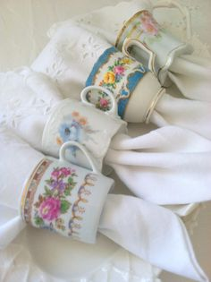 Upcycled Vintage Demitasse Tea Cup Napkin Rings by MariasFarmhouse, $75.00