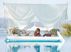 The nomadic Ego Eden Canopy has been adapted to offer lovers of shade and intimacy a mobile and light solution.Ego Eden Canopy Designed by Thomas Sauvage. Outdoor Beds, Canopy Outdoor, Outdoor Lounge, Tent, Outdoor Curtains, Outdoor Spaces, Outdoor Living, Pool Lounge, Backyard Canopy