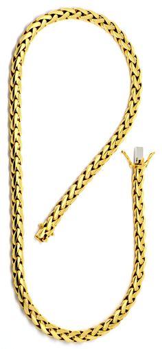 Foto 2, Schwere Zopf Gold-Kette massiv Gelb-Gold 18K/750 Luxus!, K2184