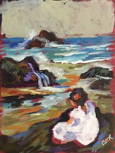 """""""Girl by the  Sea Shore""""  a Youtube 30 minute July 5 release step by step tutorial in how to paint using blocks of color."""