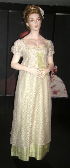 Regency evening gowns: delicious detail at bosom and ankle, via Liberta Books. Regency evening gown, replica, Bath costume museum