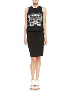 Mixed-Print+Sleeveless+T-Shirt+Dress+with+Pencil+Skirt+by+Faith+Connexion+at+Neiman+Marcus.