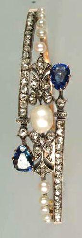 A late 19th century pearl, sapphire and diamond bracelet