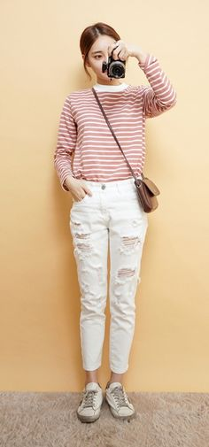 korean style - stripes top + white ripped jeans + sneakers + sling bag