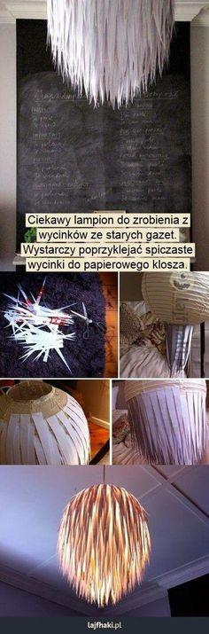 Papierowy klosz - Ciekawy lampion do zrobienia z  wycinków ze starych gazet.  Wystarczy poprzyklejać spiczaste  wycinki do papierowego klosza.