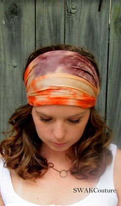 Wide Yoga Headband Orange   Brown Tie Dye Cotton Jersey Headband Turband  Turban Headband Running Women s Workout Headband or Choose Color 663c8eec59