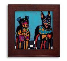 Min Pin Lovers Gift Beardie Dog Folk Art Ceramic Framed Tile by Heather Galler - Ready To Hang Tile Frame Gift