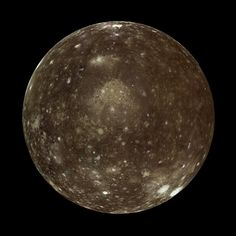 Callisto, 2nd largest of Jupiter's moons and 3rd largest moon in the Solar System. There is thought to be a liquid ocean under the surface, which could potentially host microbial life, though it's less likely than Europa to support life.  The crust of the moon is extremely old and cratered nearly to saturation (any new craters will erase old craters). Callisto's rotation is tidally locked, so the same side always faces Jupiter, which sits motionless in the Callistan sky.