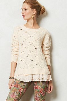 Anthropologie Diamond Stitch Pullover Sweater Size M, By Lili's Closet, Orange #Crewneck