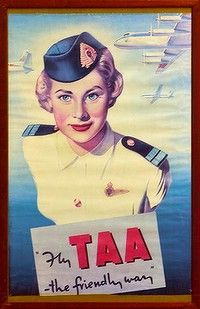 """""""Fly TAA The Friendly Way,"""" - my Dad worked for TAA his entire working life years) as an aircraft engineer. Vintage Airline, Vintage Travel Posters, Vintage Advertisements, Vintage Ads, Australian Vintage, Commercial Art, Vintage Signs, The Past, Flaxseed"""