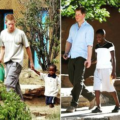 Prince Harry first met 4-year-old Mutsu Potsane at Mants'ane children's home for orphans in 2004 (left). The little boy was very vulnerable and needed a lot of care and attention. Mutsu and Prince Harry have formed a close friendship since their first meeting, and Mutsu writes to the Prince often to le