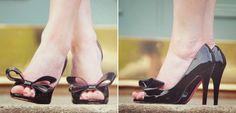 Paris Hilton black bow heels