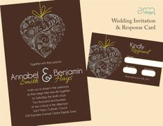 Brown, Blue, & Green Heart on a String Wedding Invitation and Response Card by EmDesign