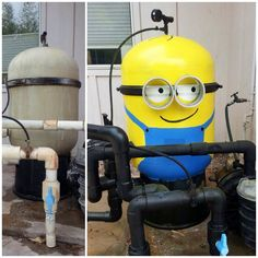 A minion painted on a pool filter