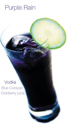 Purple Rain 1 part Vodka 1 part Blue Curacao 2 parts Grenadine 2 parts Pineapple Juice dash of Lime Juice. Vodka, blue curacao, and cranberry juice. Party Drinks, Cocktail Drinks, Cocktail Recipes, Alcoholic Drinks, Margarita Recipes, Cocktail Cake, Bourbon Drinks, Vodka Cocktails, Drink Recipes