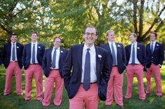 "I always recommend the groom & men wear something unique, like wedding color or striped socks...I'm not too sure I like the pants which standout so boldly it will draw the eye in all the pictures.  Also, later on it will dominate the wedding conversation rather than how beautiful the bride...""Could you believe those pants?"""