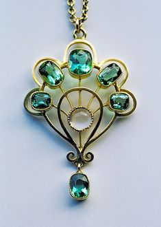 Jugendstil Pendant, Gold, Tourmaline & Moonstone (ca 1900) - MURRLE BENNETT & CO | JV