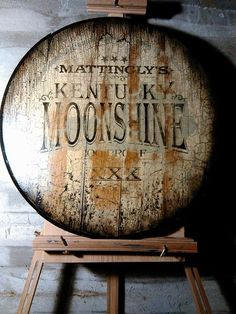 Make your friends think you have your own brand of Moonshine with this hand painted custom Moonshine Barrel Top Sign that you can have personalized with.