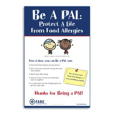 Be A PAL: Protect A Life From Food Allergies Poster - premium version available for purchase at FARE's online store, and also available for free download at https://www.foodallergy.org/be-a-pal