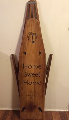 Old wooden ironing board I painted. Painted Ironing Board, Antique Ironing Boards, Wood Ironing Boards, Painted Boards, Country Decor, Rustic Decor, Primitive Decor, Rustic Crafts, Decor Crafts