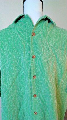 Caribbean Joe Mens' Hawaiian Shirt Green Size xl Jacquard Print Bamboo Silk 100% | Clothing, Shoes & Accessories, Men's Clothing, Casual Shirts | eBay!