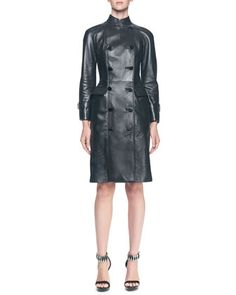 Double-Breasted+Long+Leather+Jacket+by+Alexander+McQueen+at+Neiman+Marcus.