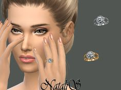 Halo diamond engagement ring for left hand.  Found in TSR Category 'Sims 4 Female Rings'