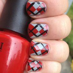 red diamond, diamonds, grey, argylenail total, argyl nail, diamond nail, nail art, gir nail, red black