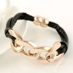 Chunky Chain Leather Bracelet