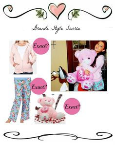 Requested: Ariana's outfit in a photo.  Sorry this is the best i could do! i mean with thepyjamashorts, its the closest match to the pattern, i'm sure if you ask your Mum or Grandma they'd make them into shorts for you! ;) Sorry luvs! Oh and i can't find anything similar to the giant pink teddy bear either. ;/  Hoodie  Pyjama Bottoms  Teddy Bear  Thanks luvs!  -Katelyn x