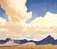 "Maynard Dixon, ""Changing Sky and Shadow"", 1944, oil on board, 16 x 20"
