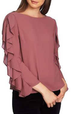 cinq a sept Gisele Floral Ruffle Blouson-Sleeve Top - Buy Designer Ruffle Slit Sleeve Top. Find the lowest price on SALE. Kurti Sleeves Design, Sleeves Designs For Dresses, Dress Neck Designs, Kurti Neck Designs, Kurta Designs Women, Kurti Designs Party Wear, Stylish Dress Designs, Sleeve Designs, Stylish Dresses
