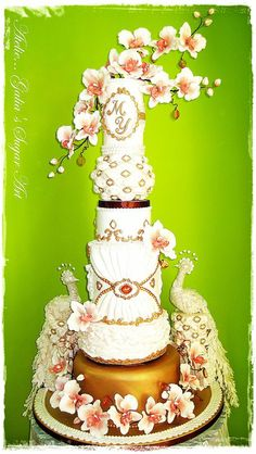Cake with peacocks - by Galia Hristova @ CakesDecor.com - cake decorating website