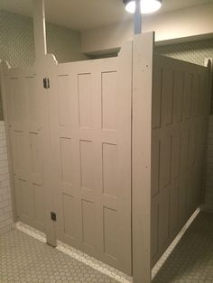 Bathroom Stalls With Wood Doors Floor Tile Same Style Well Have At - Bathroom partitions bay area