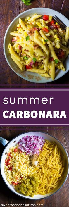 One Pan Summer Carbonara with Corn & Chiles, a delicious dinner recipe ready in 30 minutes!: