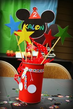 Decorations at a Mickey Mouse Clubhouse Party #mickeymouse #party