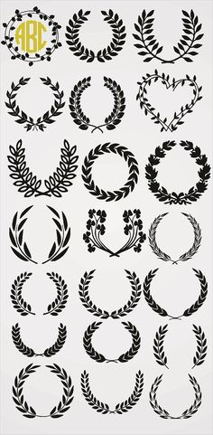 Laurel Leaf Wreath Monogram Collection SVG and Silhouette Studio cutting file, Instant Download