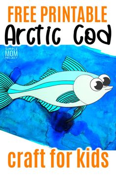 Fish crafts are not only great for summer but great for winter too! How cool is this arctic cod fish craft? Use the free printable arctic cod fish template to make this easy underwater ocean animal. He is perfect for kids of all ages including preschool, kindergartner, toddler #fishcraft #arcticanimal #arcticcodcraft #oceananimals #SimpleMomProject Ocean Theme Crafts, Ocean Animal Crafts, Animal Crafts For Kids, Winter Crafts For Kids, Toddler Crafts, Printable Crafts, Free Printable, Sea Creatures Crafts, Art Activities For Toddlers