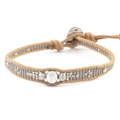 Grey Mix Single Wrap Bracelet on Beige Leather - Chan Luu