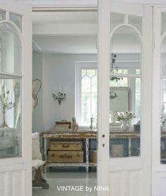 Gorgeous doors and windows! ♥ -- My French Country Home, French Living - Sharon Santoni Shabby Cottage, Cottage Style, Vintage Shabby Chic, Vintage Decor, My French Country Home, Living Vintage, Country Interior, White Rooms, Beautiful Interiors