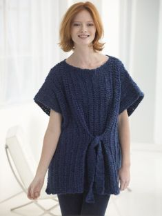 Tied Tunic- free crochet pattern from Lion Brand. Wouldn't this be more flattering with the ties in the back?