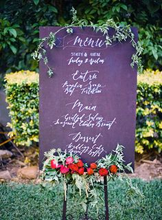 Chalkboard wedding menu with calligraphy | www.onefabday.com
