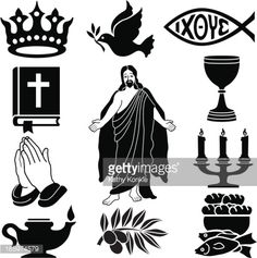 Christian Icon Set In Black Silhouette Vector Art | Getty Images