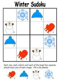 Winter Sudoku Puzzles http://www.dltk-holidays.com/winter/msudoku.htm