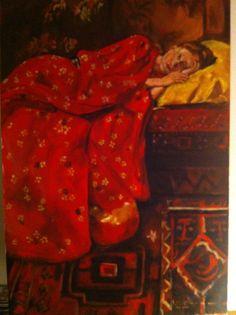 Meisje in rode kimono door Lianne Leijnse - 100x150 cm - acryl - Jan. 2014