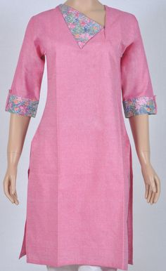 One side pinned down collared khadi cotton kurta and folded three fourth sleeves Salwar Suit Neck Designs, Kurta Neck Design, Neck Designs For Suits, Kurta Designs Women, Dress Neck Designs, Collar Designs, Sleeve Designs, Blouse Designs, How To Fold Sleeves