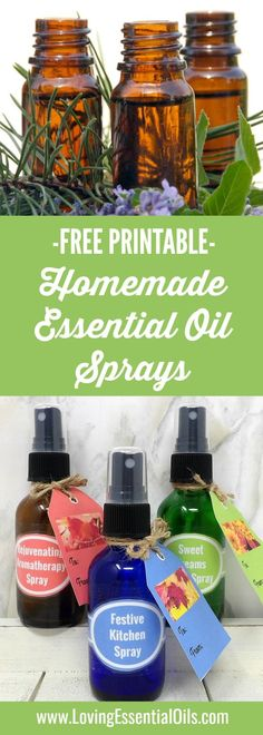 FREE Printable - Homemade Essential Oil Sprays Made Easy DIY Recipes Guide with bottle labels and gift tags.