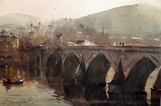 Dusan Djukaric     Bridge on the Drina,watercolor, 36x54 cm
